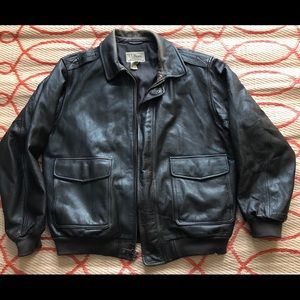 LL bean brown men's leather jacket x large